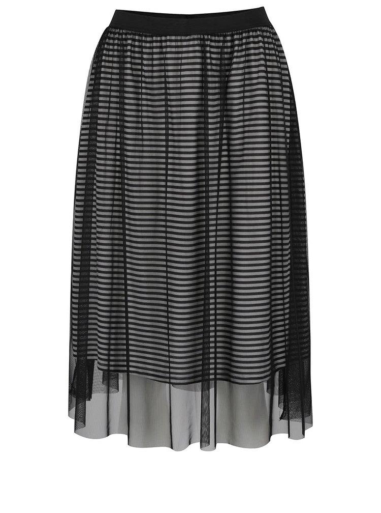 Černá tylová sukně s pruhovanou podšívkou ONLY Mesh