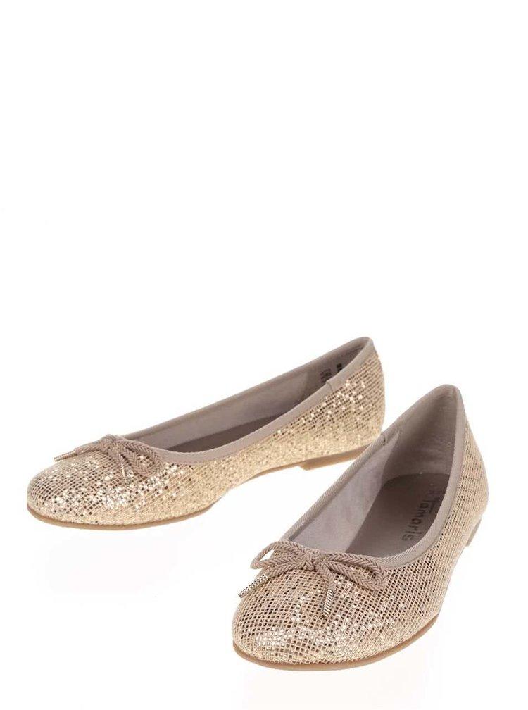 Třpytivé baleríny ve zlaté barvě Tamaris