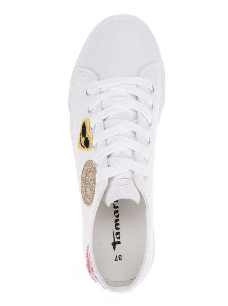 Bílé tenisky s nášivkami Tamaris