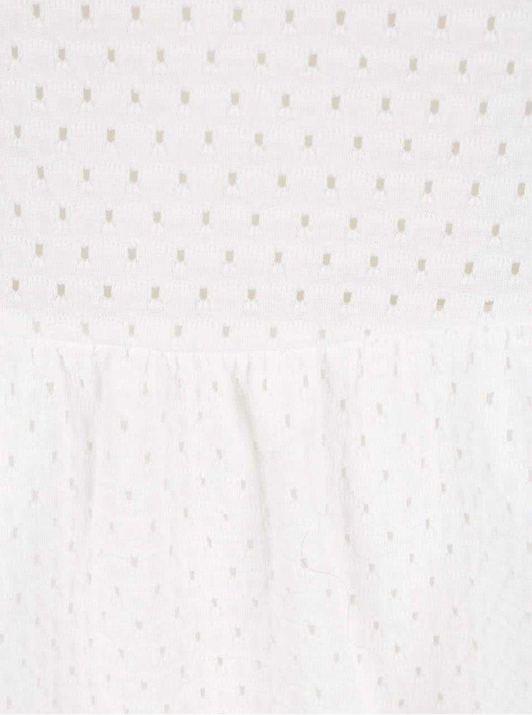 Krémové perforované šaty bez rukávov ONLY Nina