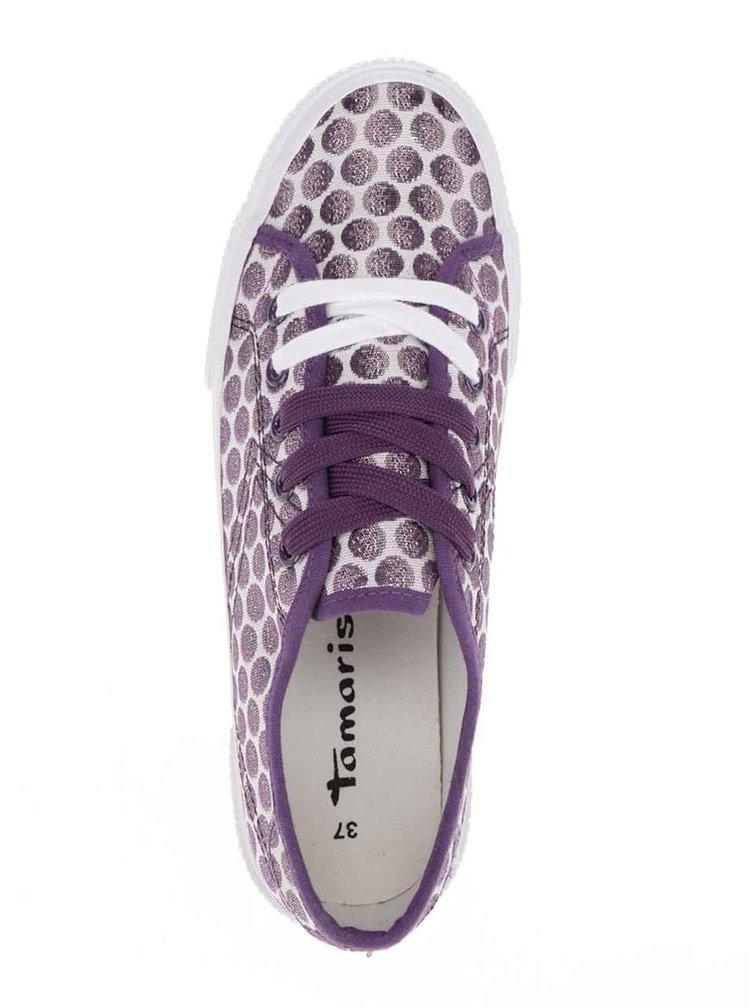 Fialovo-krémové puntikaté tenisky Tamaris