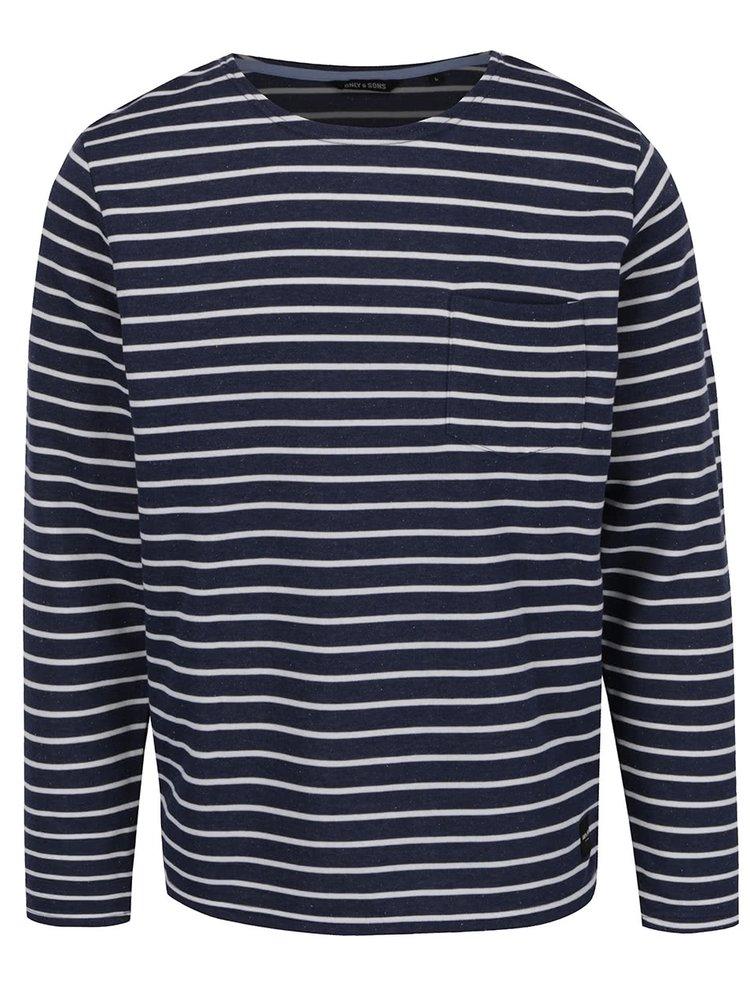 Bluza albastru inchis ONLY & SONS Pally cu model in dungi