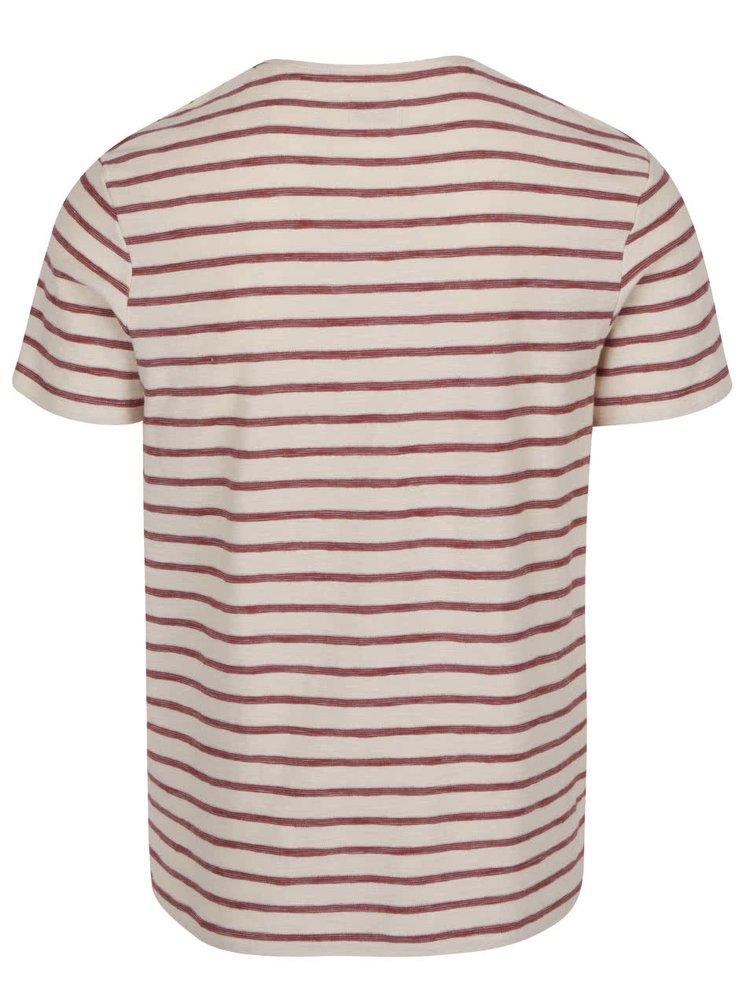 Tricou crem Selected Homme Kris cu model în dungi