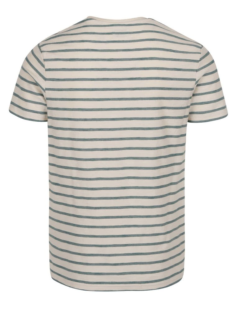 Tricou crem Selected Homme Kris cu model in dungi