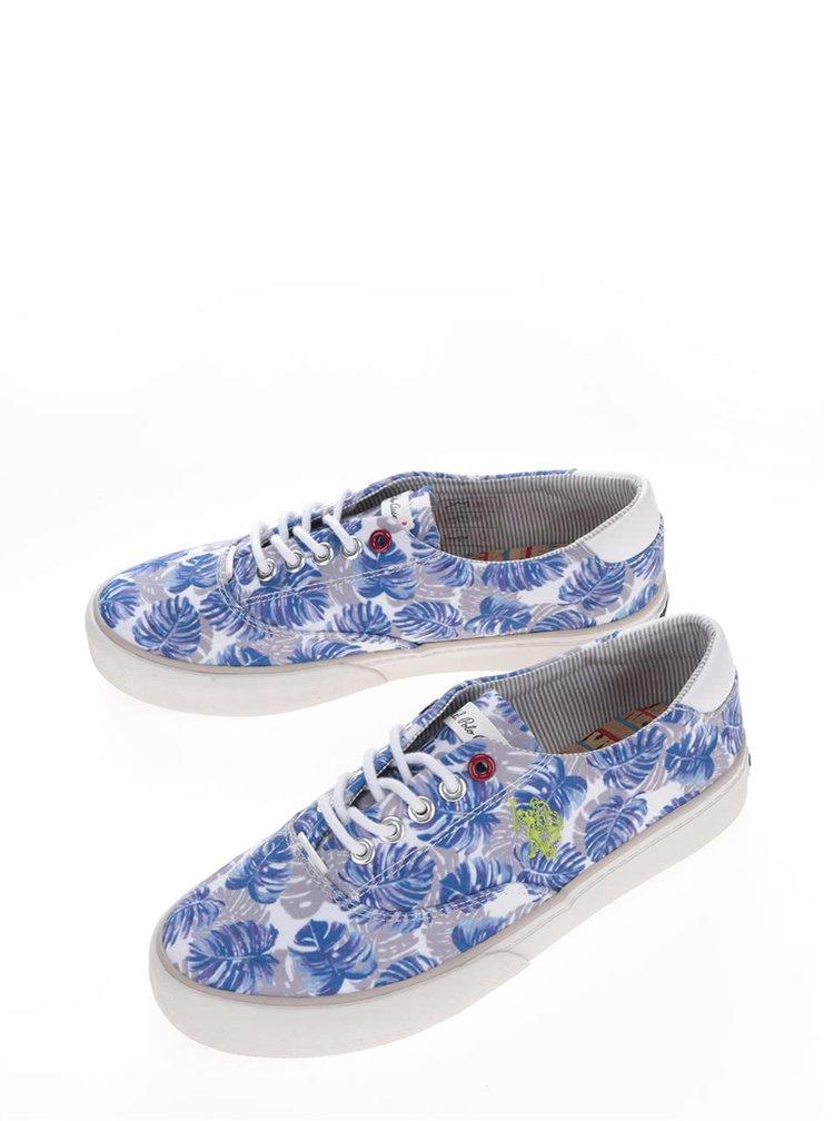 Krémovo-modré dámské květované tenisky U.S. Polo Assn. Ripley