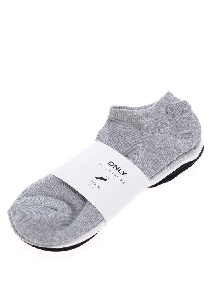 Set de 3 perechi de șosete alb & gri & negru ONLY Lulu