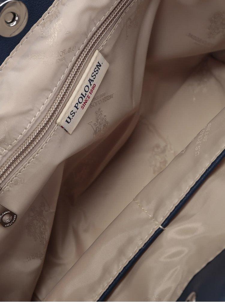 Geanta albastru inchis  U.S. Polo Assn. cu model cu perforatii