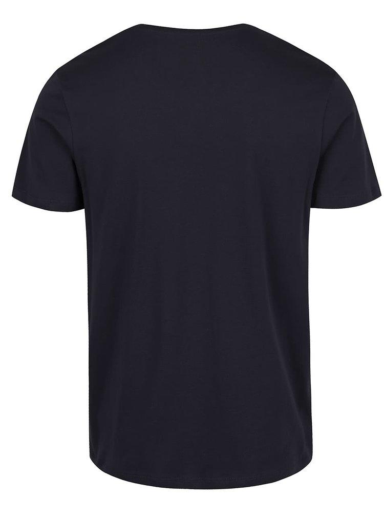 Tmavě modré tričko s krátkým rukávem Selected Homme Pima