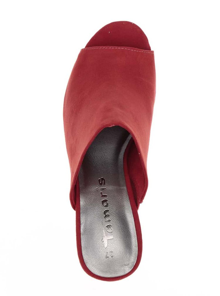 Červené pantofle na podpatku Tamaris