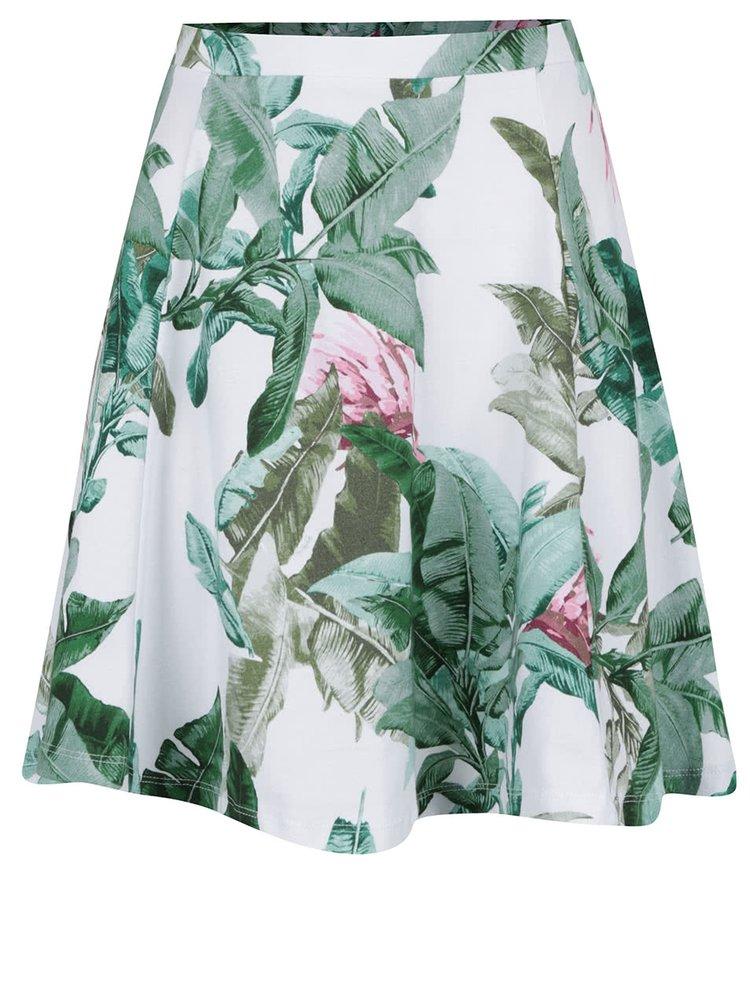 Fustă albă cloș ONLY New Rebecca cu imprimeu tropical