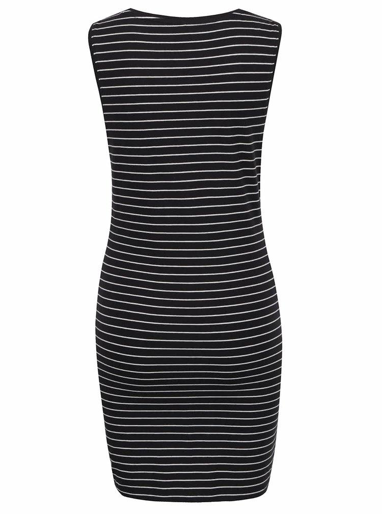 Černé pruhované šaty bez rukávů ONLY Cornelia
