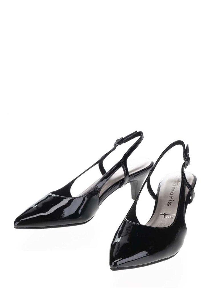 Pantofi negri Tamaris cu aspect lucios
