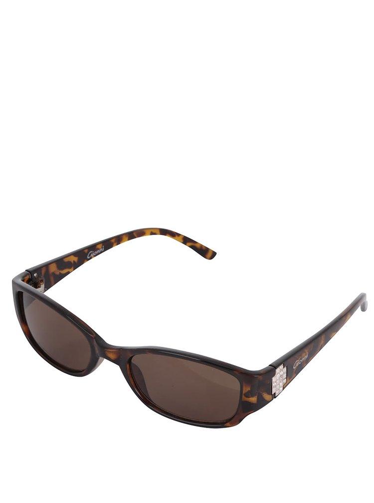 Hnědé vzorované dámské sluneční brýle s kamínky Gionni