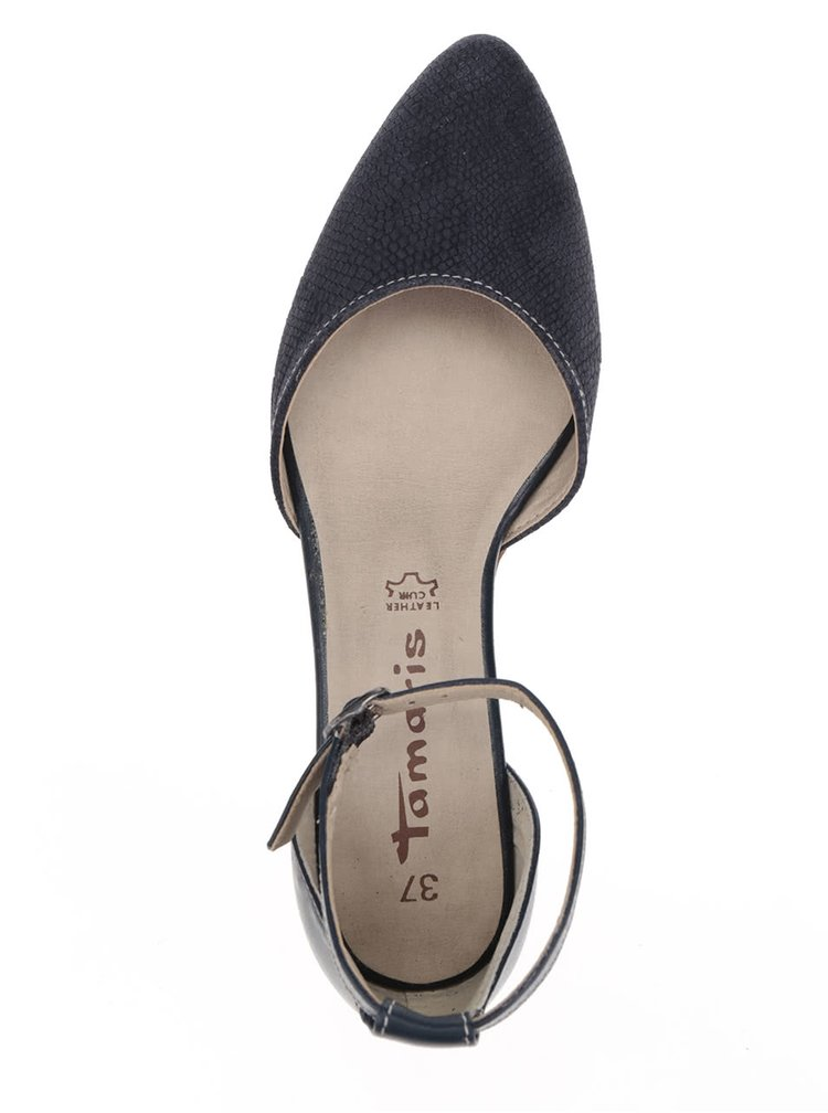 Tmavě modré kožené sandálky Tamaris