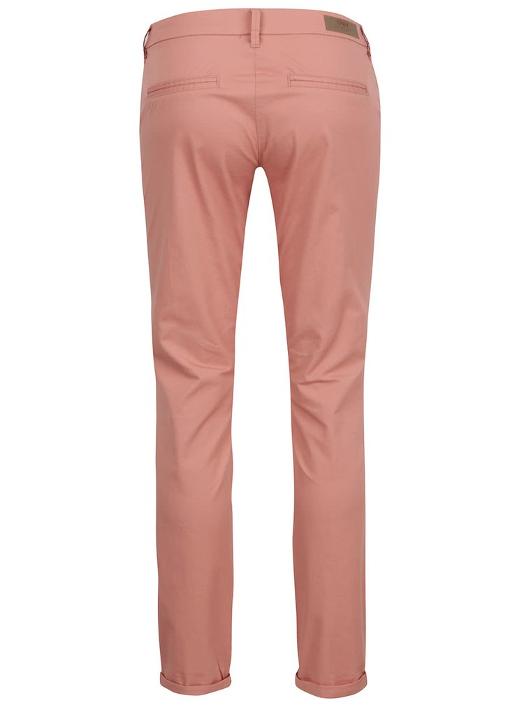 Pantaloni Chino roz prafuit ONLY Paris cu buzunare oblice