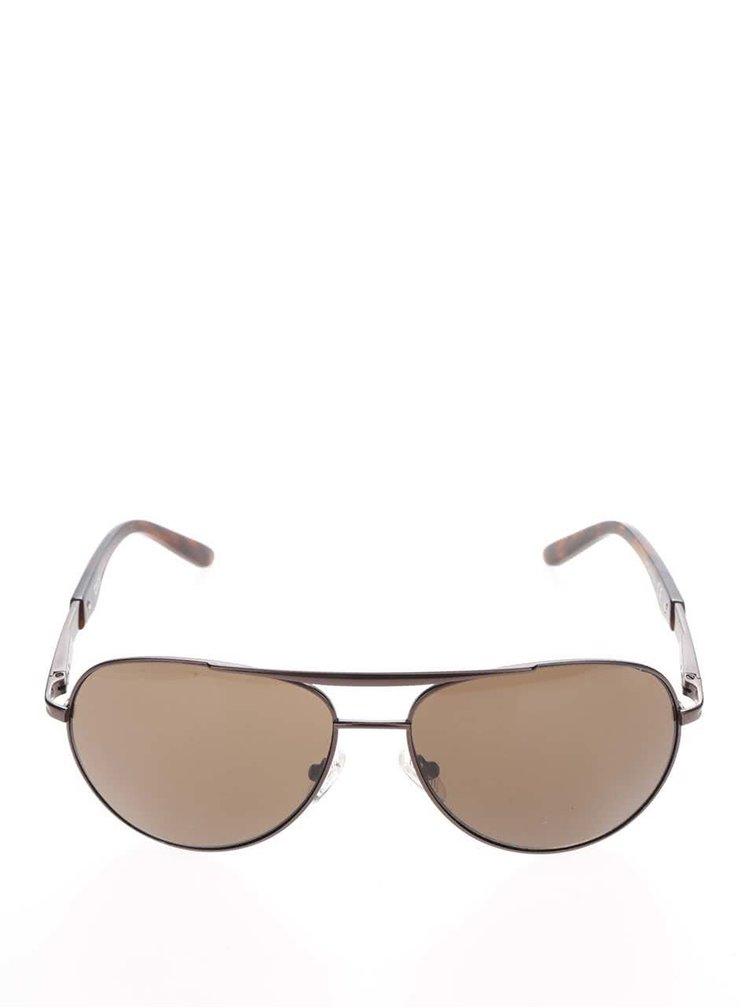 Pánské sluneční brýle s obroučkami v hnědé barvě Dice