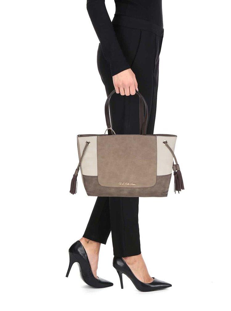 Krémovo-hnědá kabelka do ruky s třásněmi U.S. Polo Assn.
