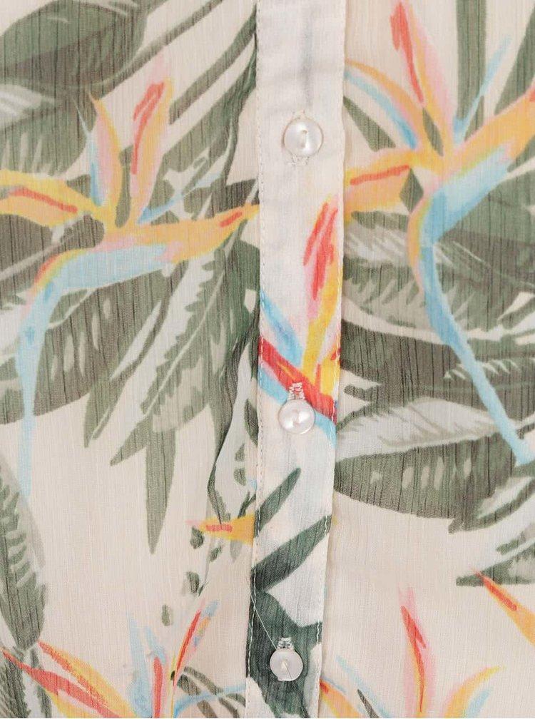 Béžové květované šaty s páskem ONLY Lia