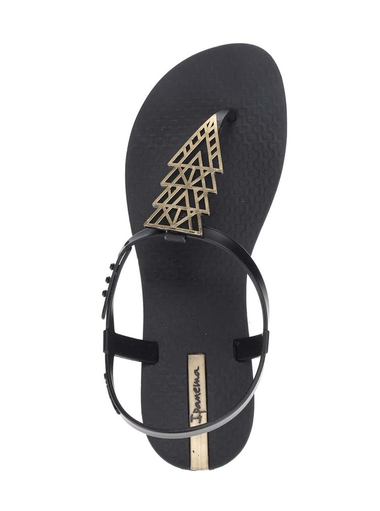 Černé plastové sandály s detailem ve zlaté barvě Ipanema Sandal