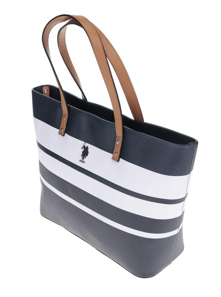 Bílo-modrá pruhovaná kabelka U.S. Polo Assn.