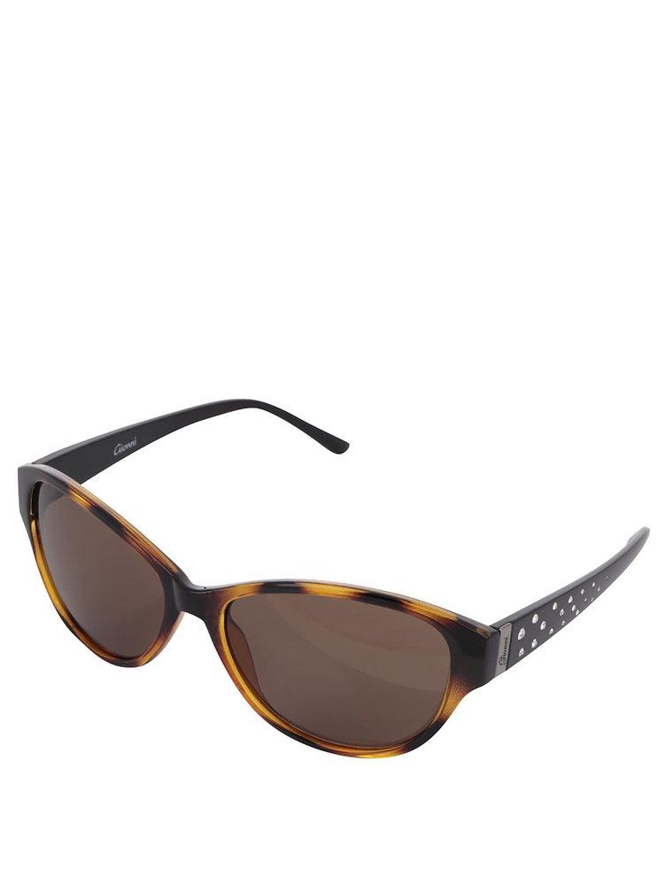 Ochelari de soare maro Gionni cu model și ștrasuri