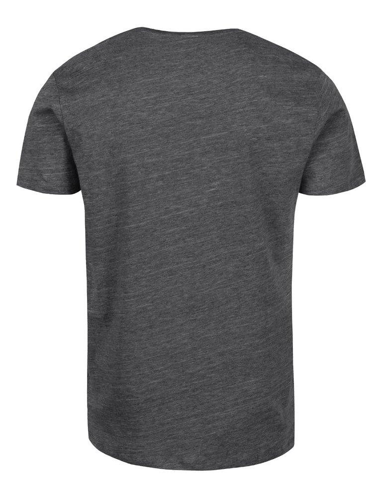 Tmavě šedé žíhané triko s krátkým rukávem Selected Homme Pima