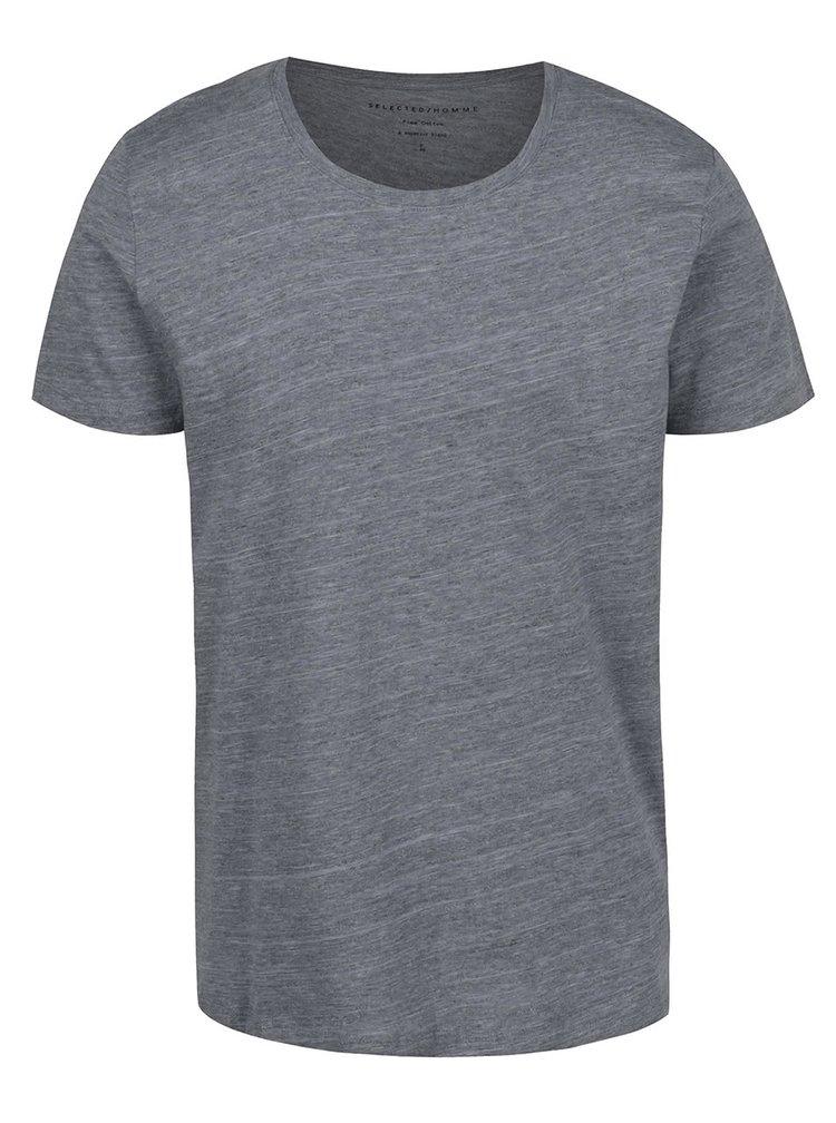 Šedé žíhané tričko Selected Homme Pima