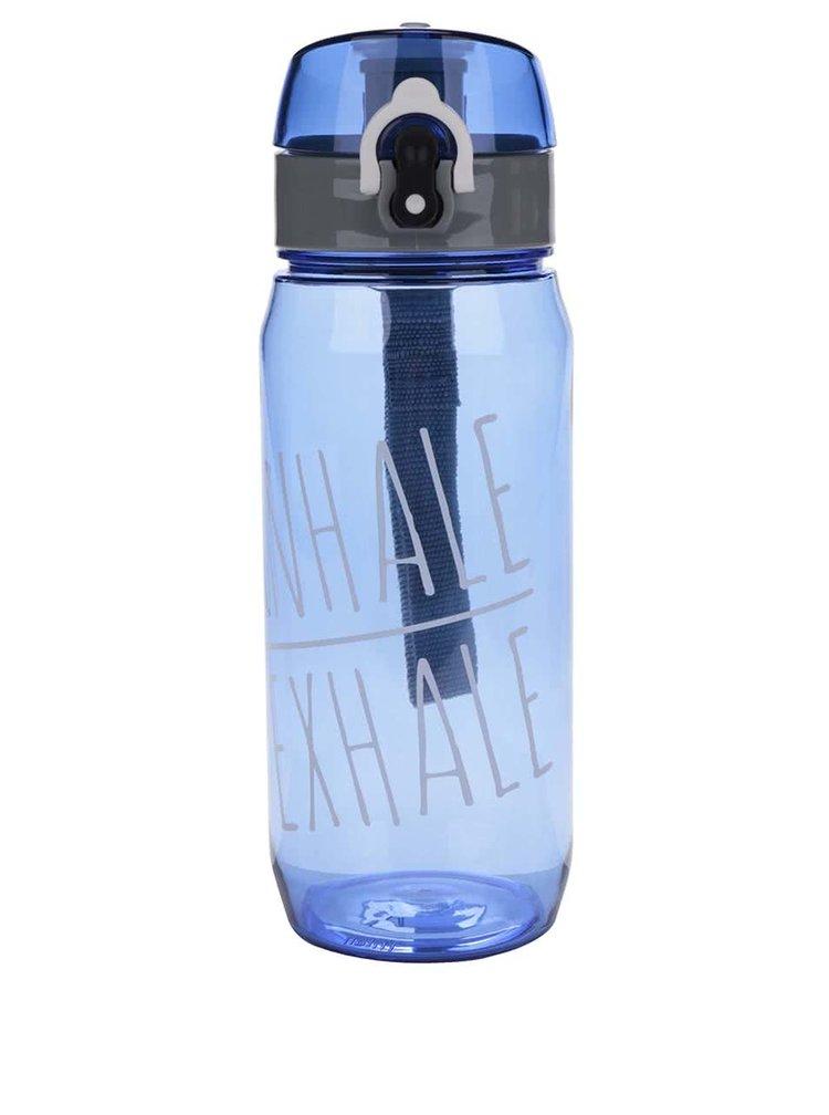 Sticla pentru fitness albastra Loooqs Inhale Exhale cu sistem de blocare