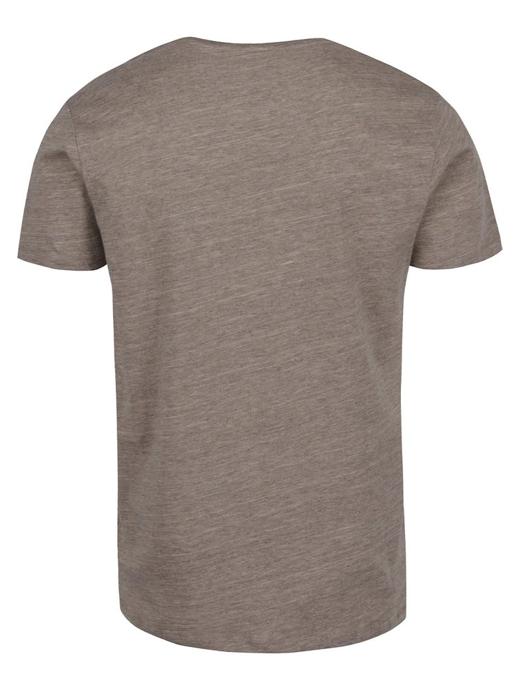 Hnědé žíhané tričko s krátkým rukávem Selected Homme Pima