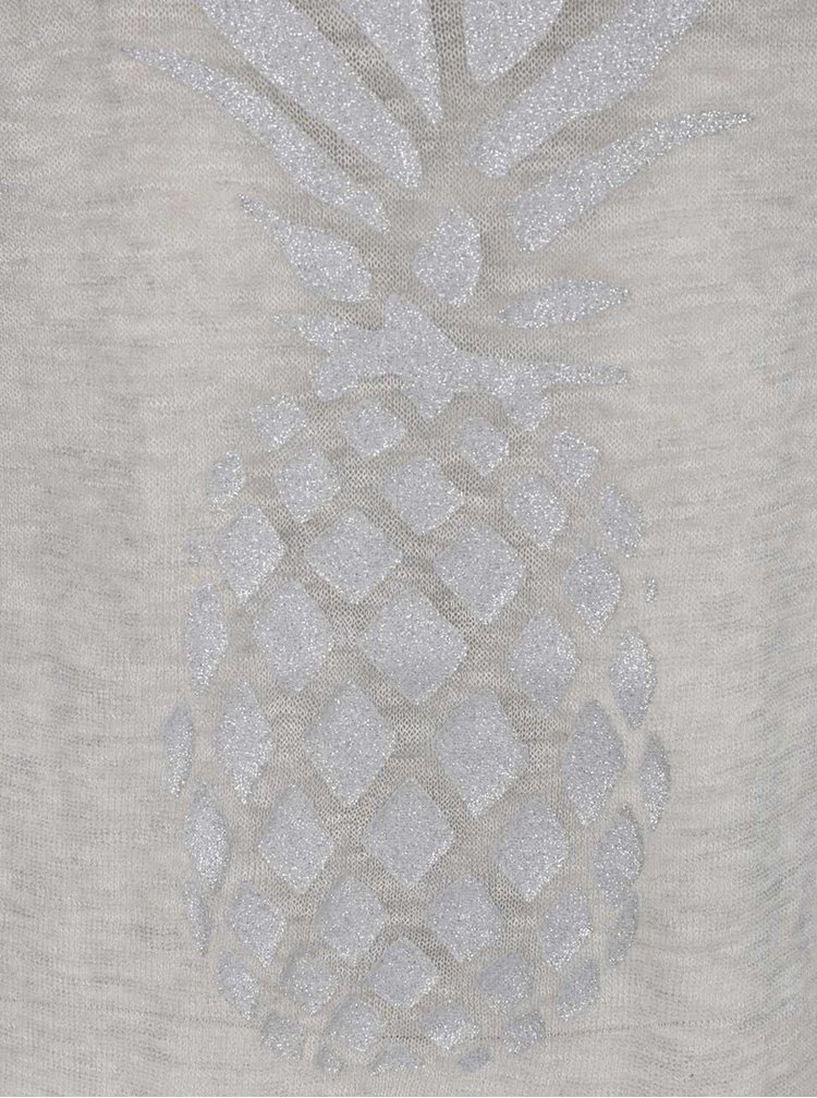Tricou lung gri ONLY Malou cu ananas