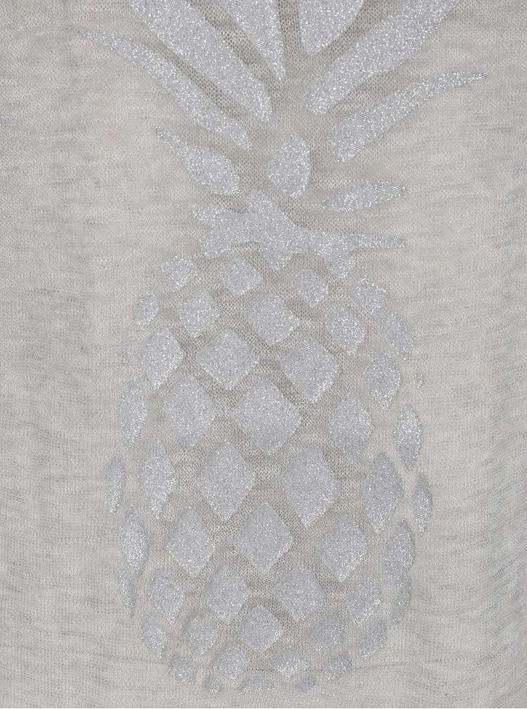 Šedé průsvitné dlouhé tričko s potiskem ananasu ONLY Malou