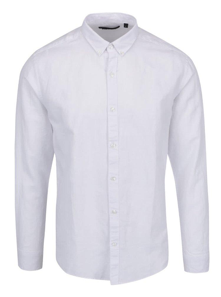 Bílá neformální lněná košile Only & Sons Clata
