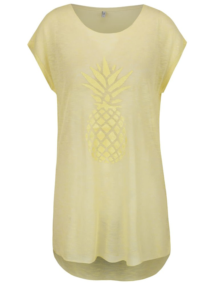 Tricou lung galben ONLY Malou cu ananas