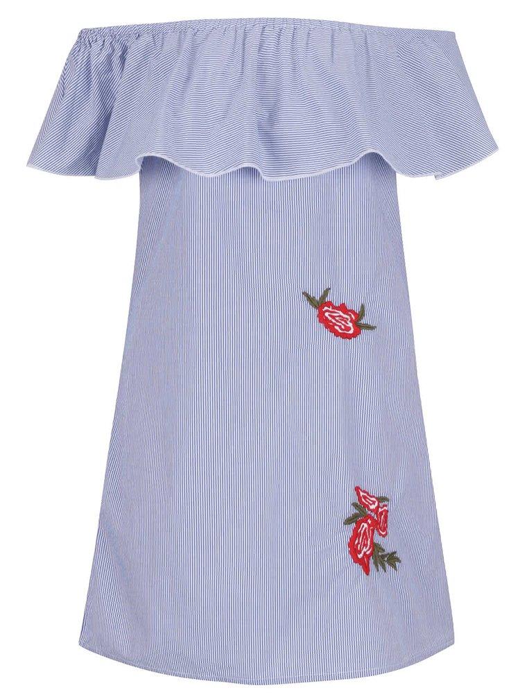 Modré pruhované minišaty s odhalenými rameny ONLY Rosanna