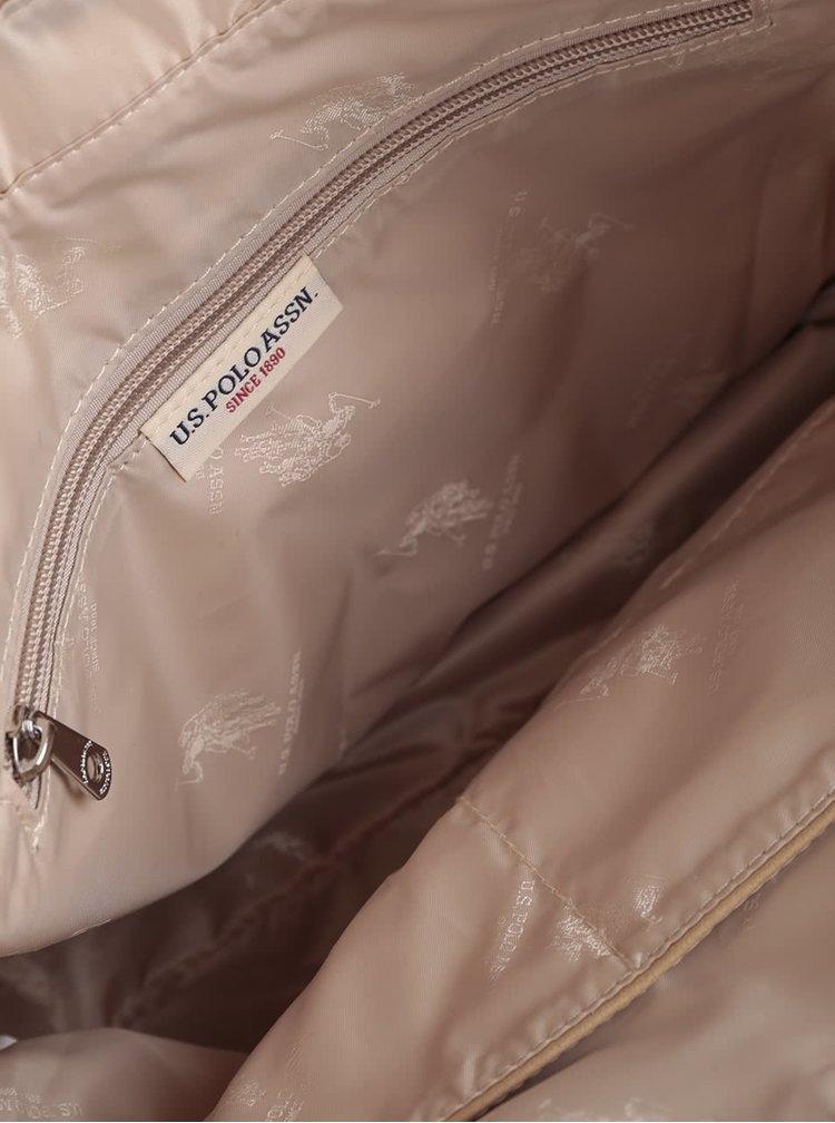 Geantă roz deschis U.S. Polo Assn. cu detalii bej