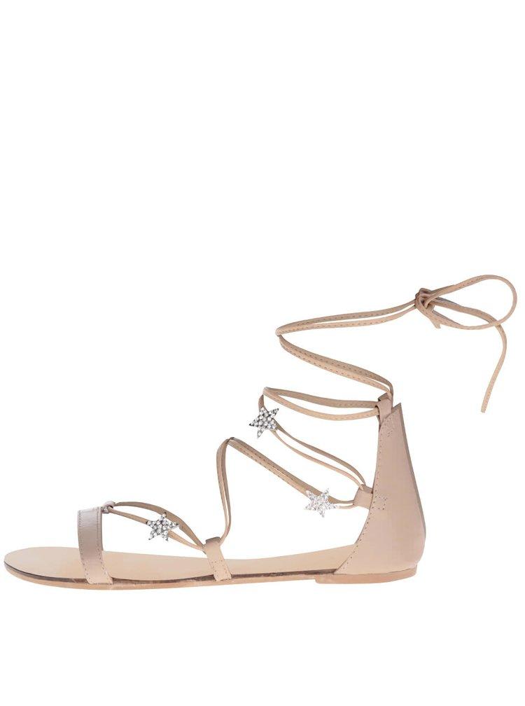 Světle hnědé sandály se zavazováním a detaily Miss Selfridge