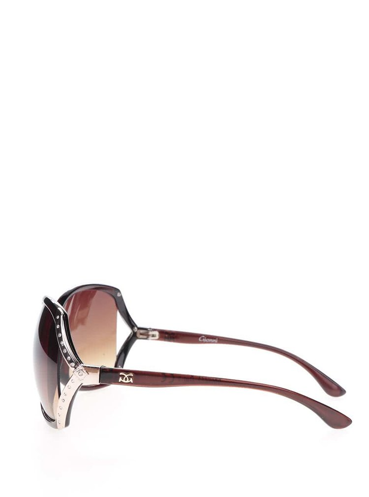 Hnědé dámské sluneční brýle s kamínky Gionni