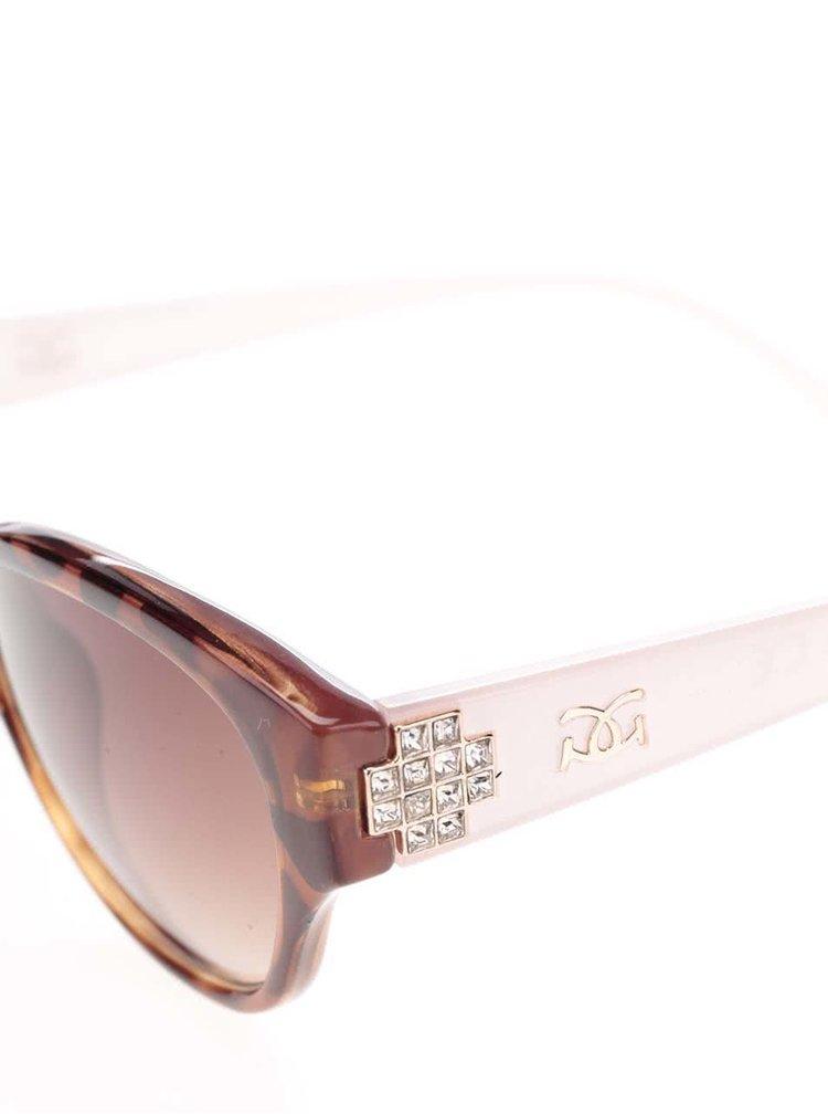 Hnědé dámské sluneční brýle s růžovými nožičkami Gionni