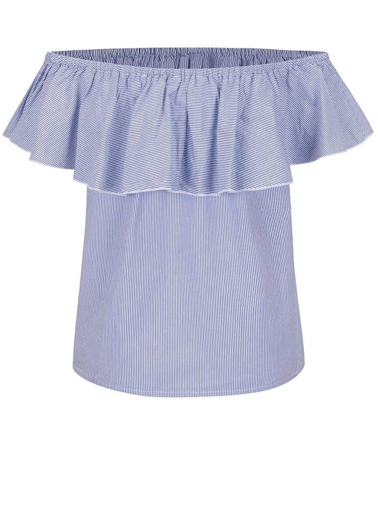 Modrá pruhovaná halenka s odhalenými rameny ONLY Rosanna