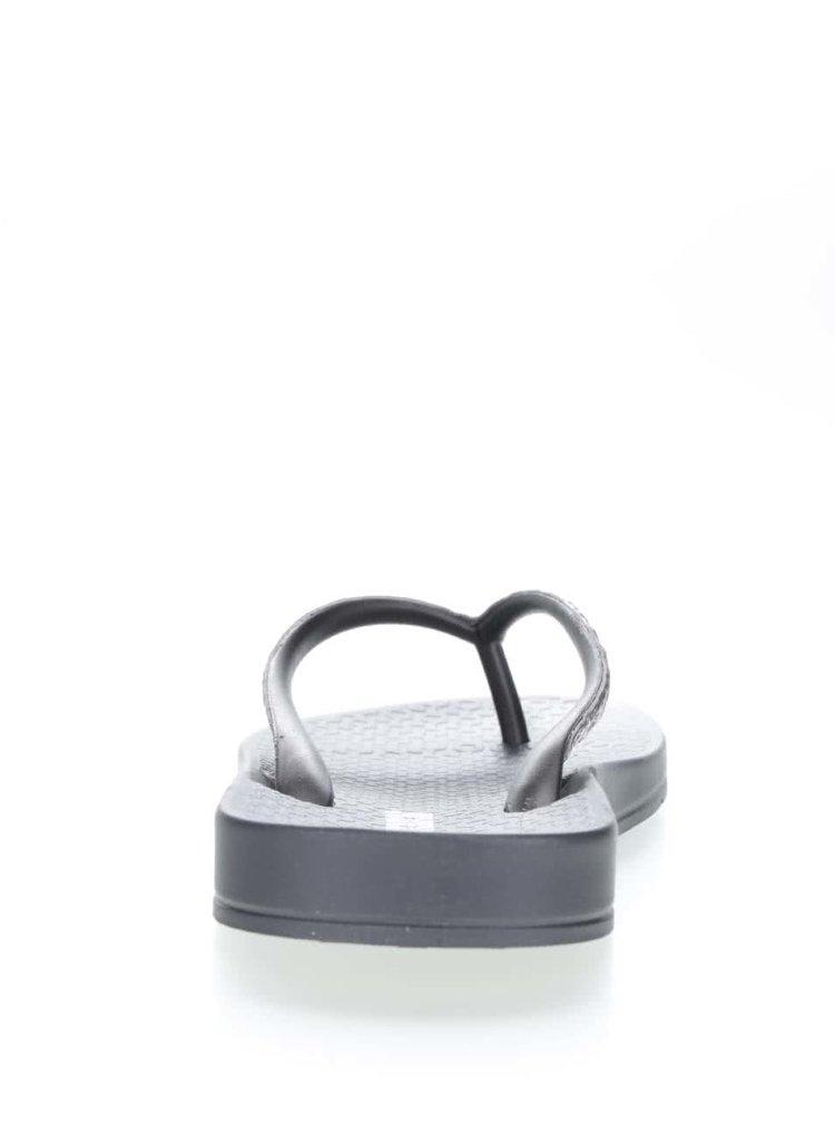Șlapi negru & argintiu Ipanema Mesh