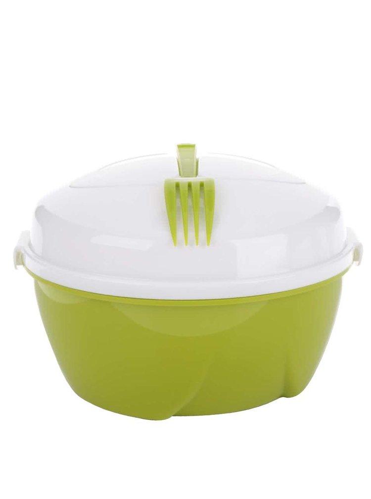 Bílo-zelený box na salát s vidličkou Loooqs