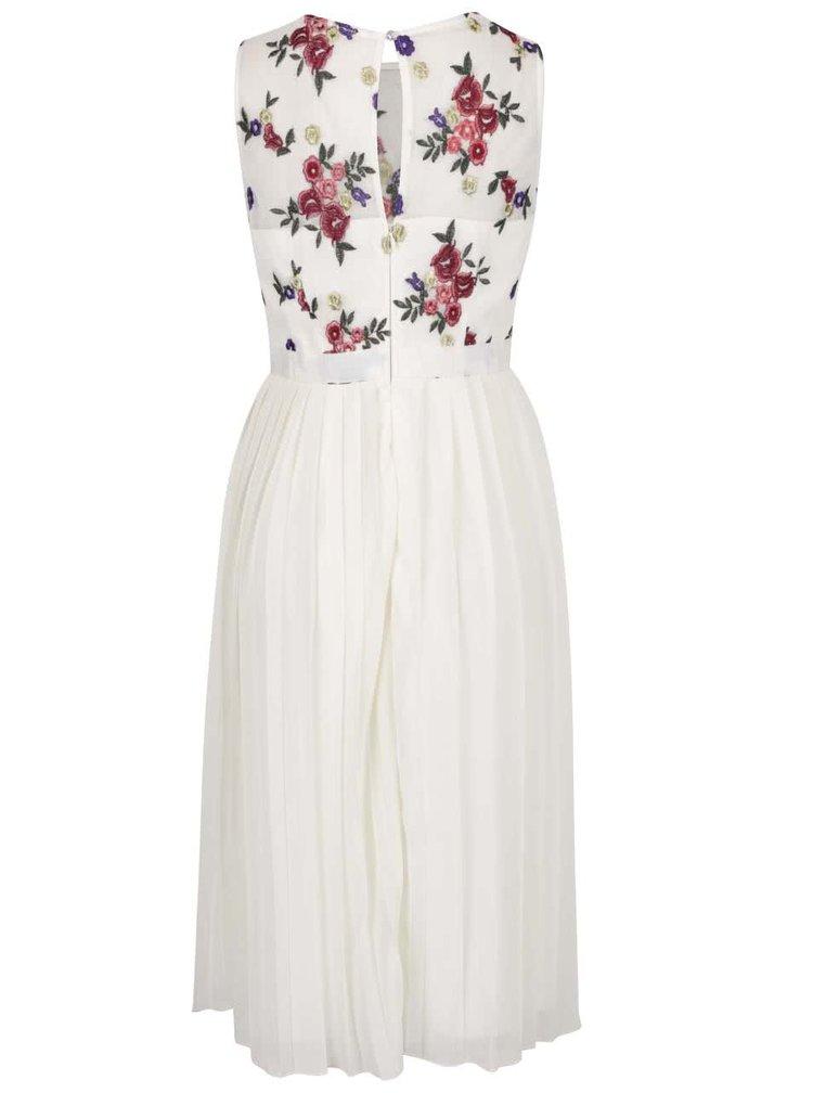 Krémové květované midi šaty s plisovanou sukní Little Mistress