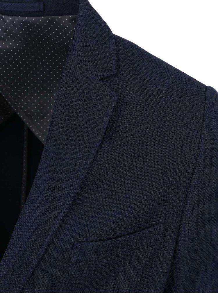 Sacou albastru închis Jack & Jones Premium Reprol cu guler cu revere