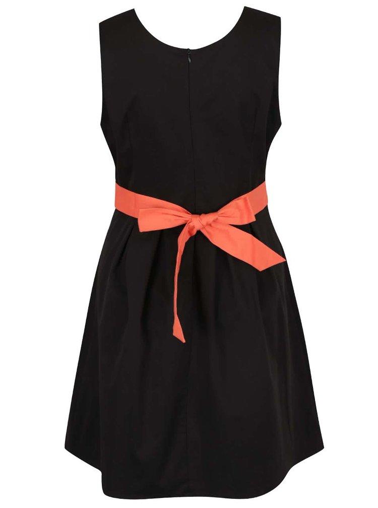 Rochie neagra Apricot cu detaliu portocaliu