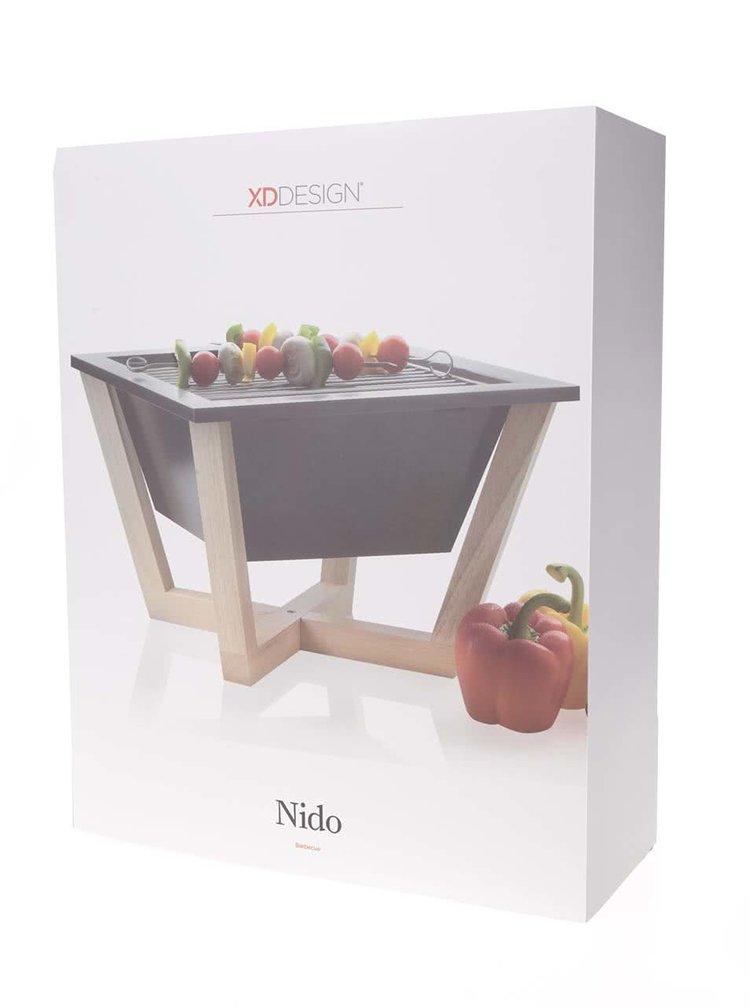 Grill portabil negru XD Design Nido cu suport din lemn