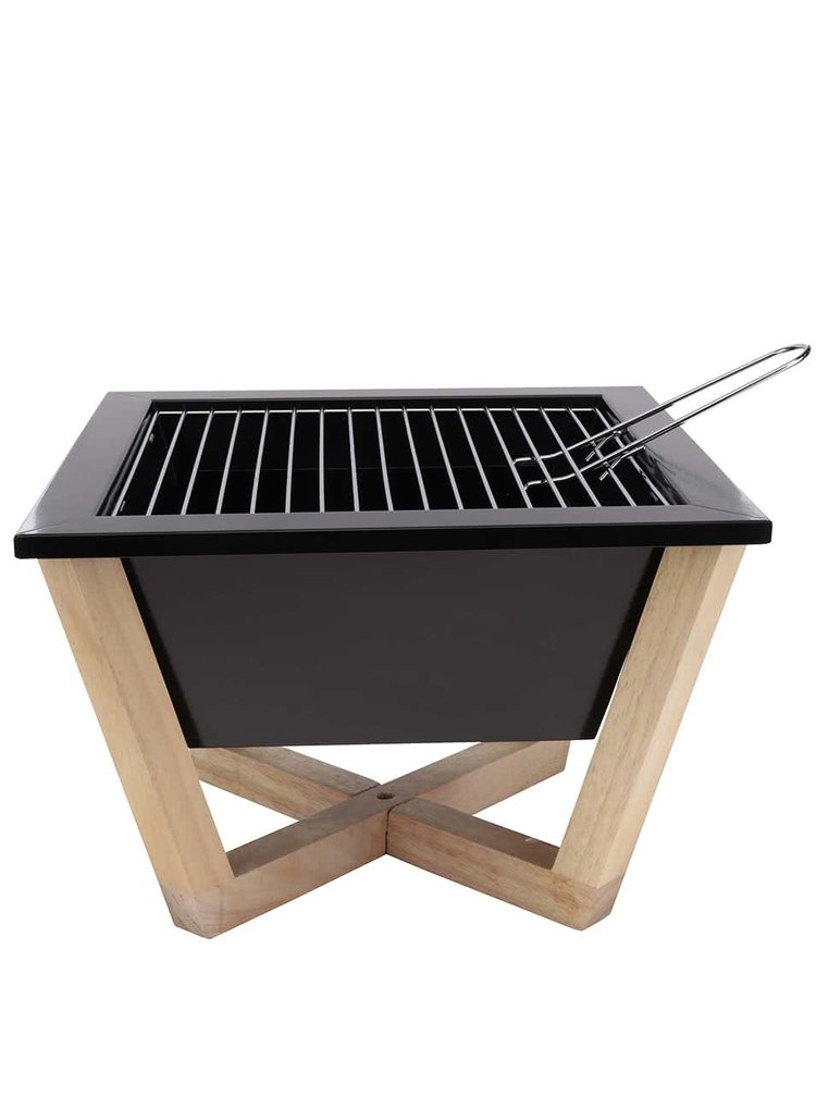 Černý přenosný gril na dřevěném podstavci XD Design Nido