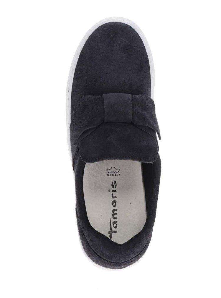 Pantofi slip-on bleumarin cu funda din piele intoarsa Tamaris