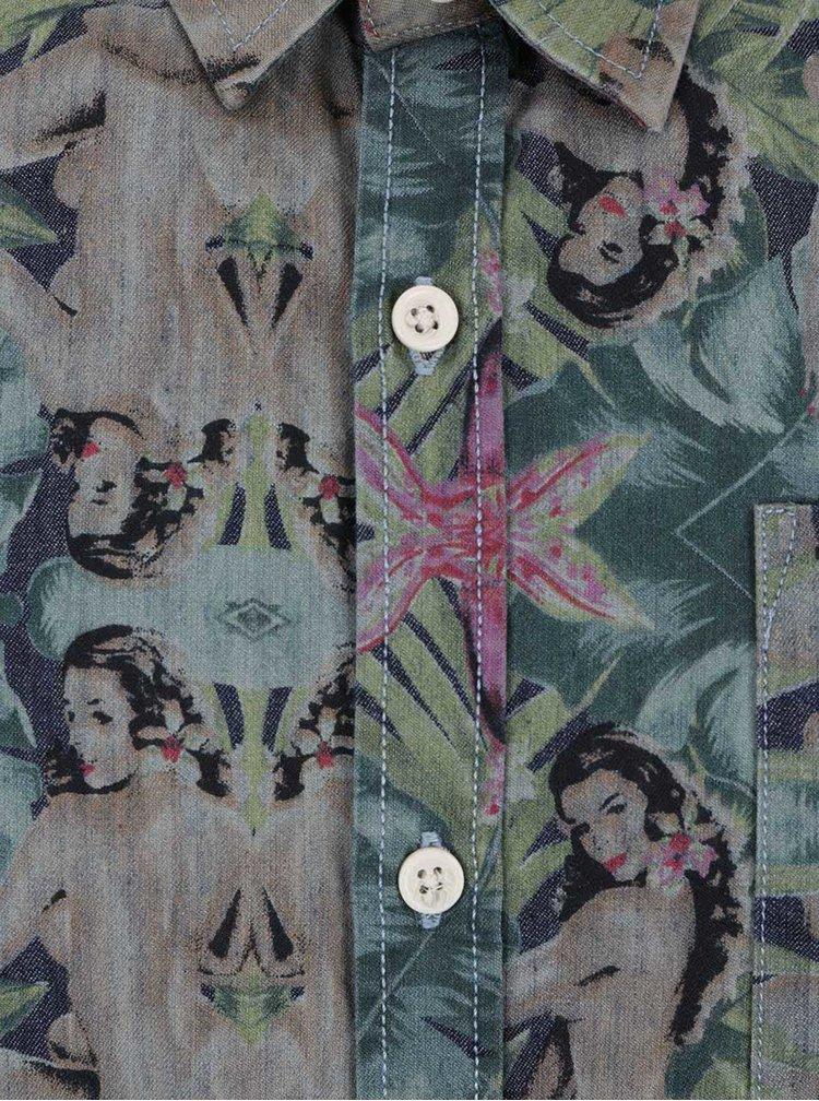 Cămașă verde camuflaj Shine Original cu imprimeu