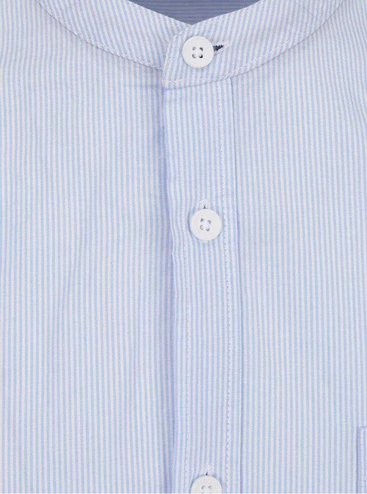 Světle modrá pruhovaná košile bez límečku !Solid Henry