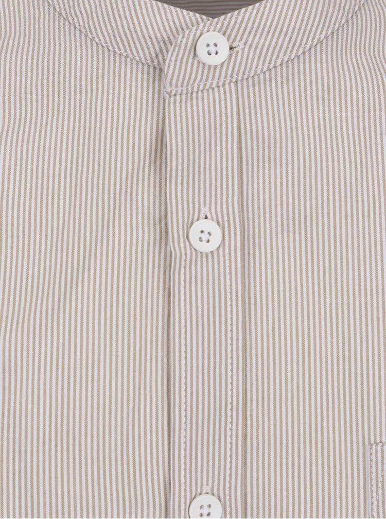 Hnědá pruhovaná košile bez límečku !Solid Henry